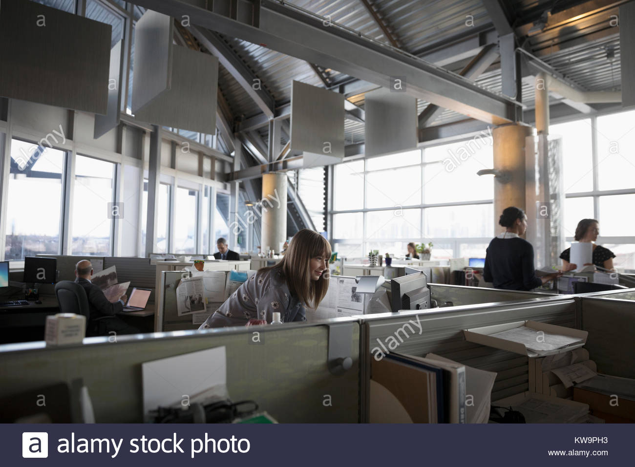 Business people working at cubicles in open plan office - Stock Image