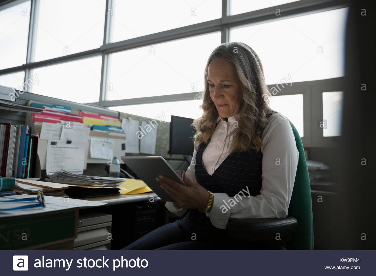 Focused mature businesswoman using digital tablet in office cubicle - Stock Image