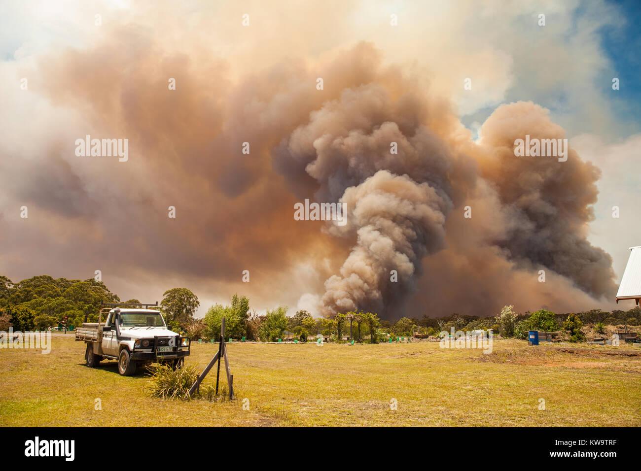 Bushfire on rural property in New South Wales, Australia