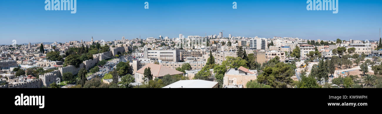 Panoramic view of the Old City of Jerusalem and the modern city: East and West Jerusalem. - Stock Image