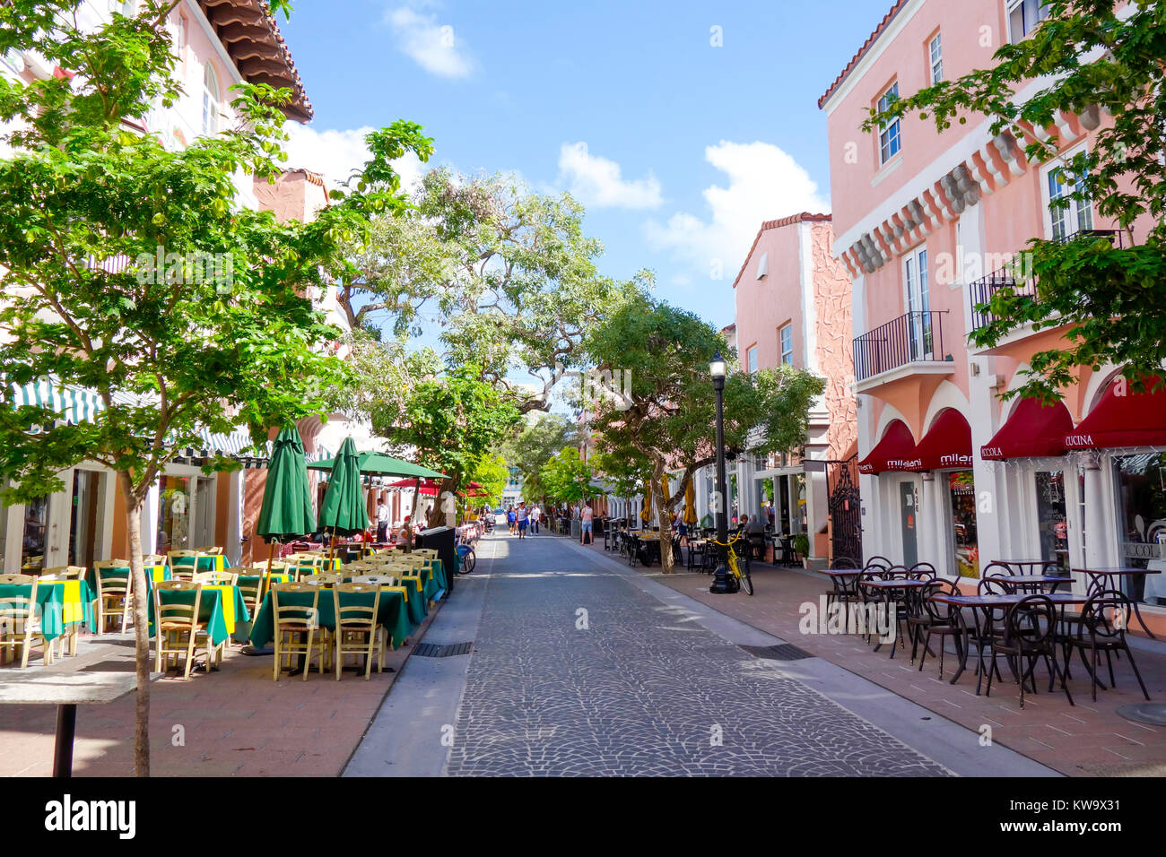 Restaurants Hotels and Shops on Espanola Way, a Mediterranean style street in South Beach Miami. - Stock Image