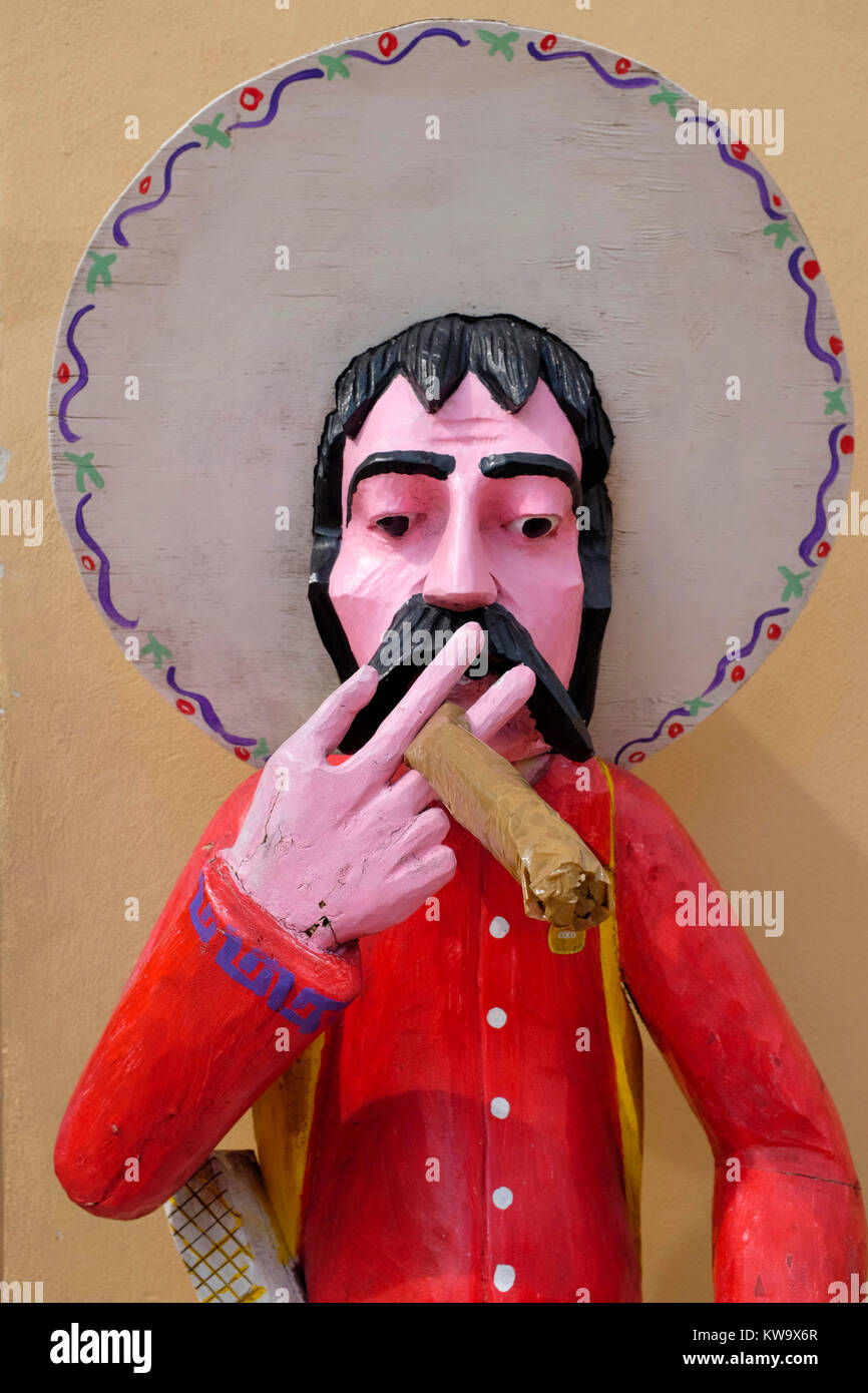 Mexican caricatures on display, Cozumel, Mexico. - Stock Image