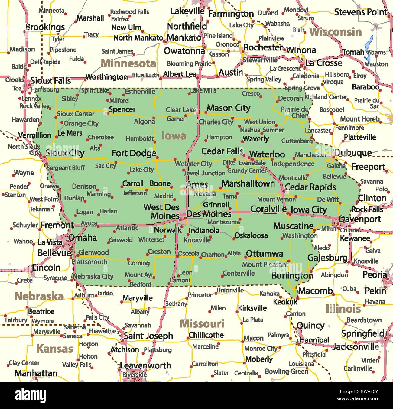 Iowa Map With Highways.Map Of Iowa Shows Country Borders Urban Areas Place Names Roads