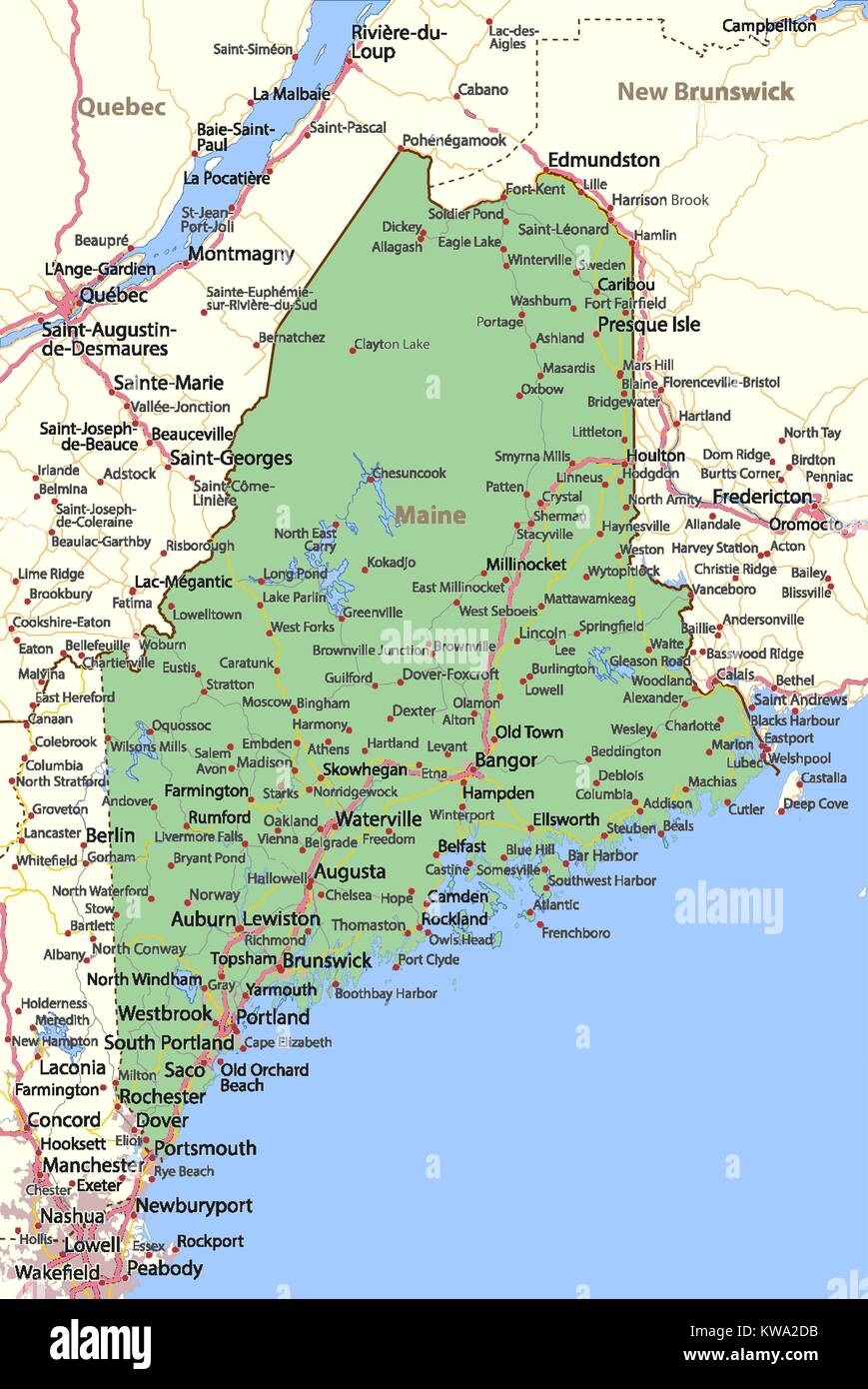 Map of Maine. Shows country borders, urban areas, place ...