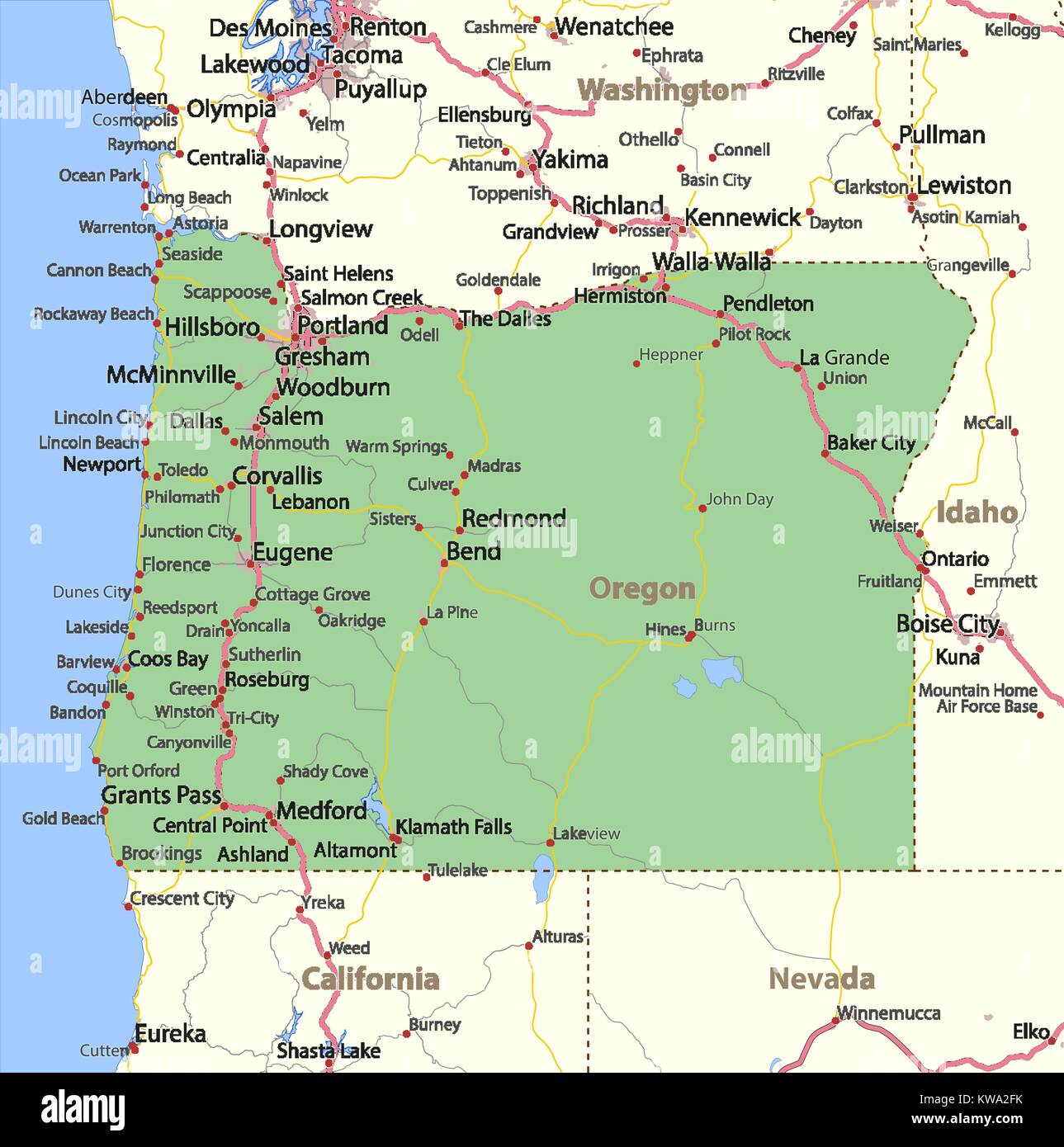 Map of Oregon Shows country borders urban areas place names