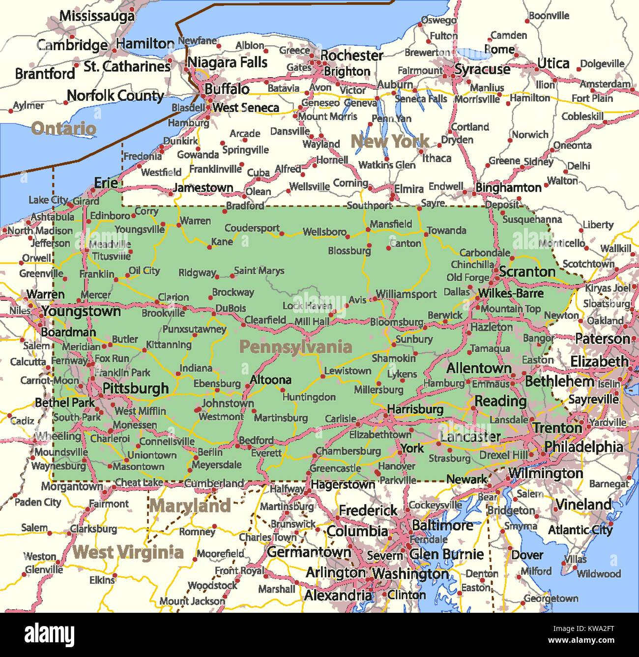 Map Of Pennsylvania Shows Country Borders Urban Areas Place Names