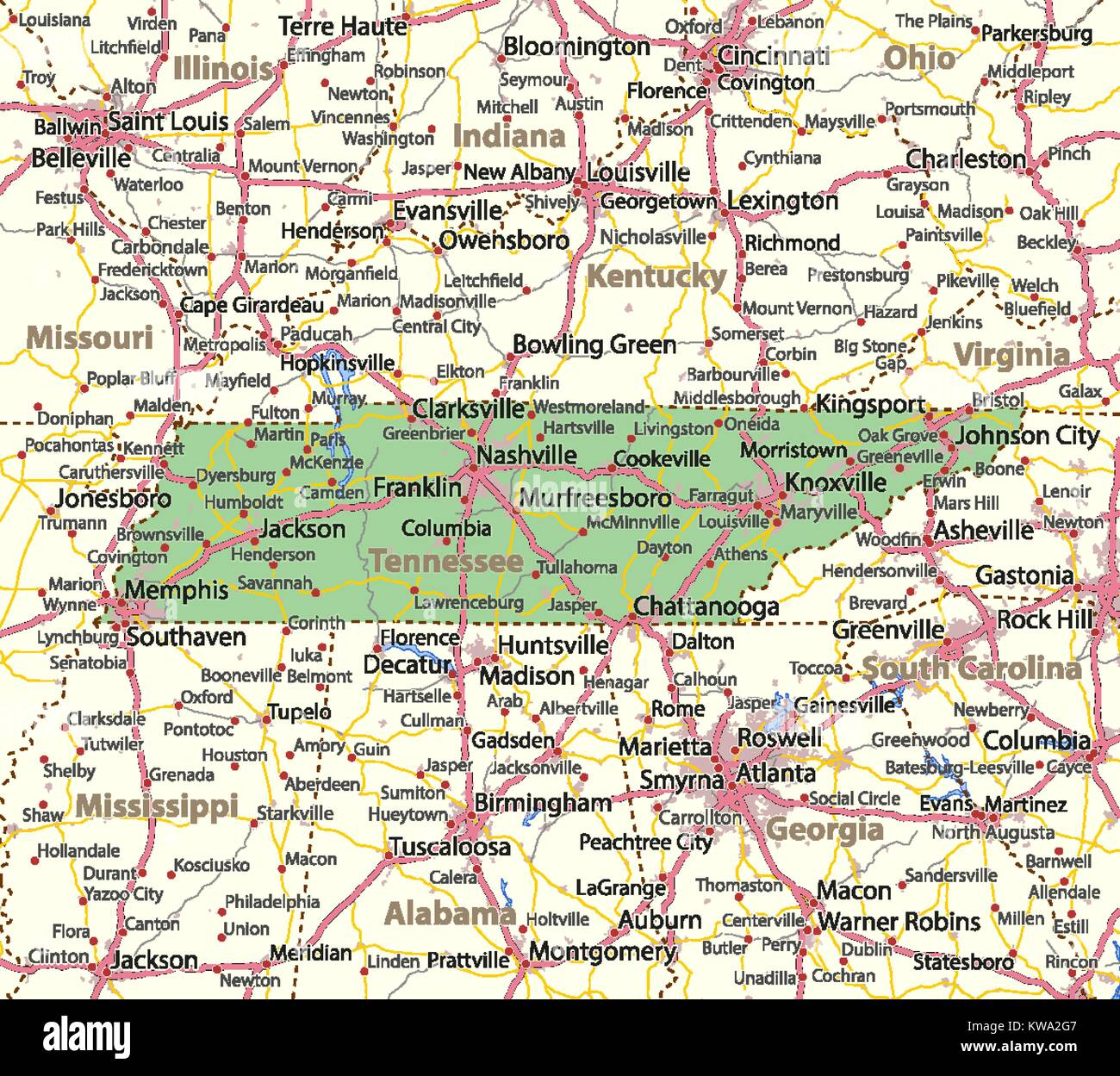 Map of Tennessee. Shows country borders, urban areas, place names ...