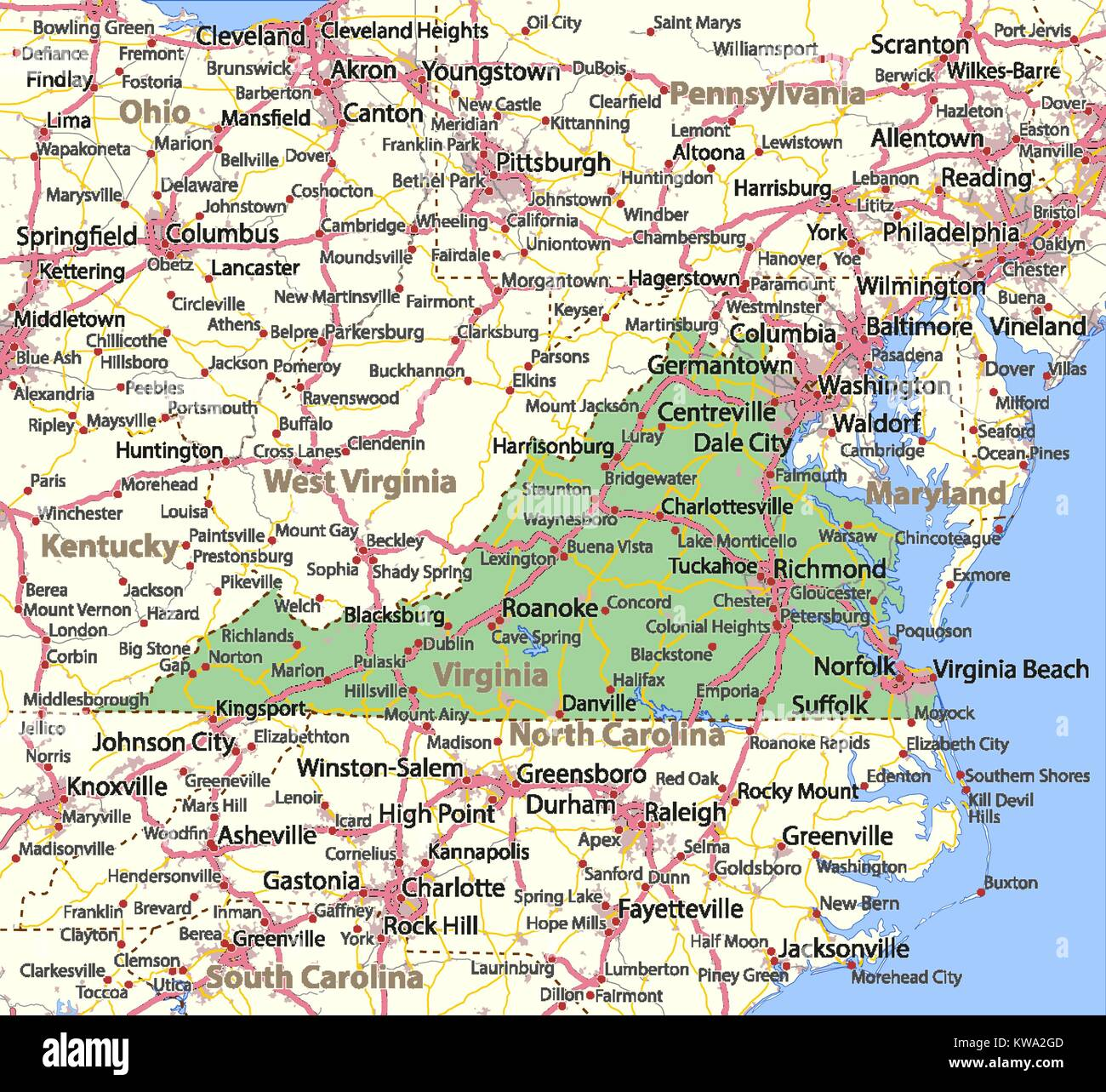Map Of Virginia Roads.Map Of Virginia Shows Country Borders Urban Areas Place Names