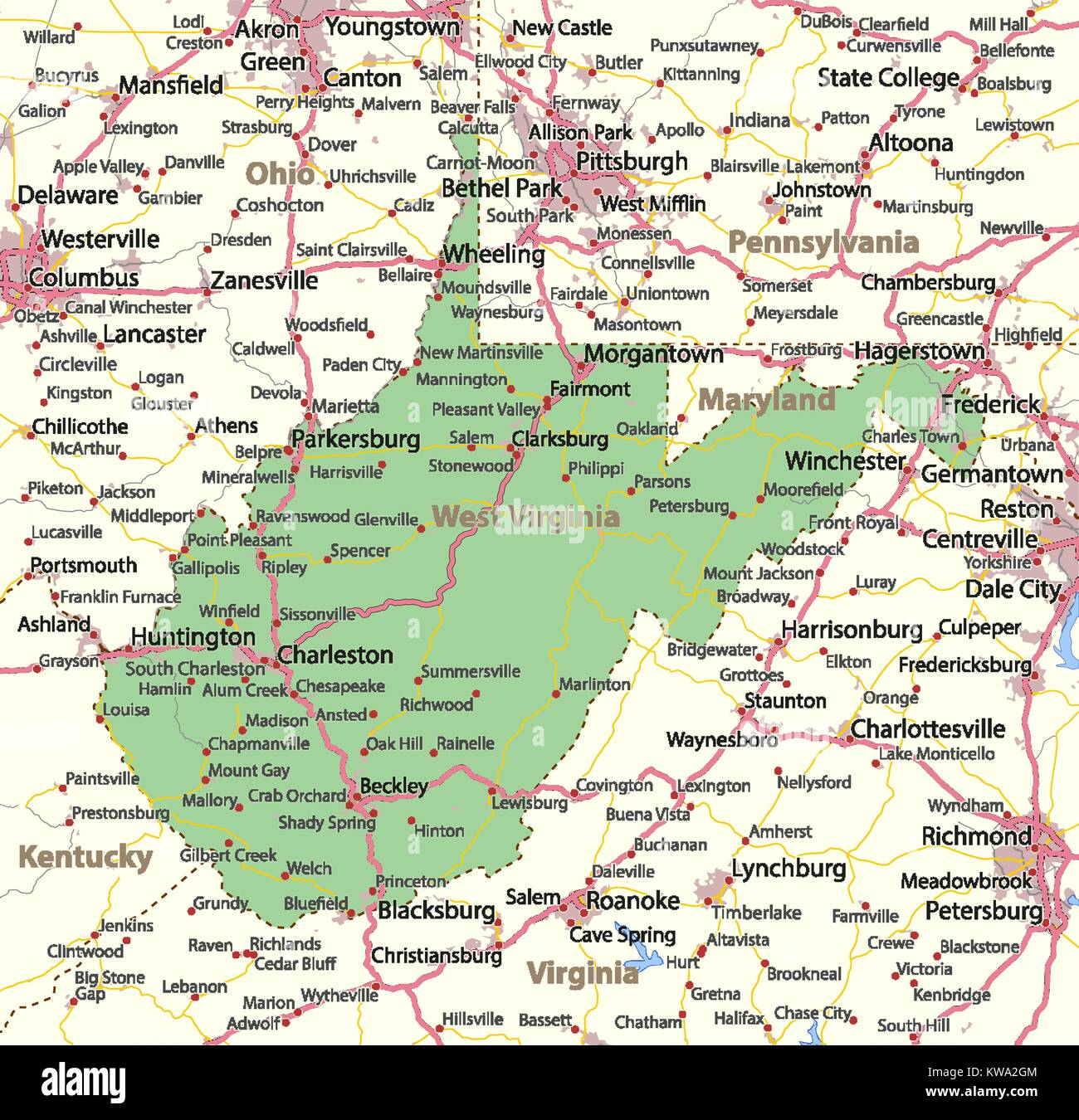 Map Of Virginia Roads.Map Of West Virginia Shows Country Borders Urban Areas Place