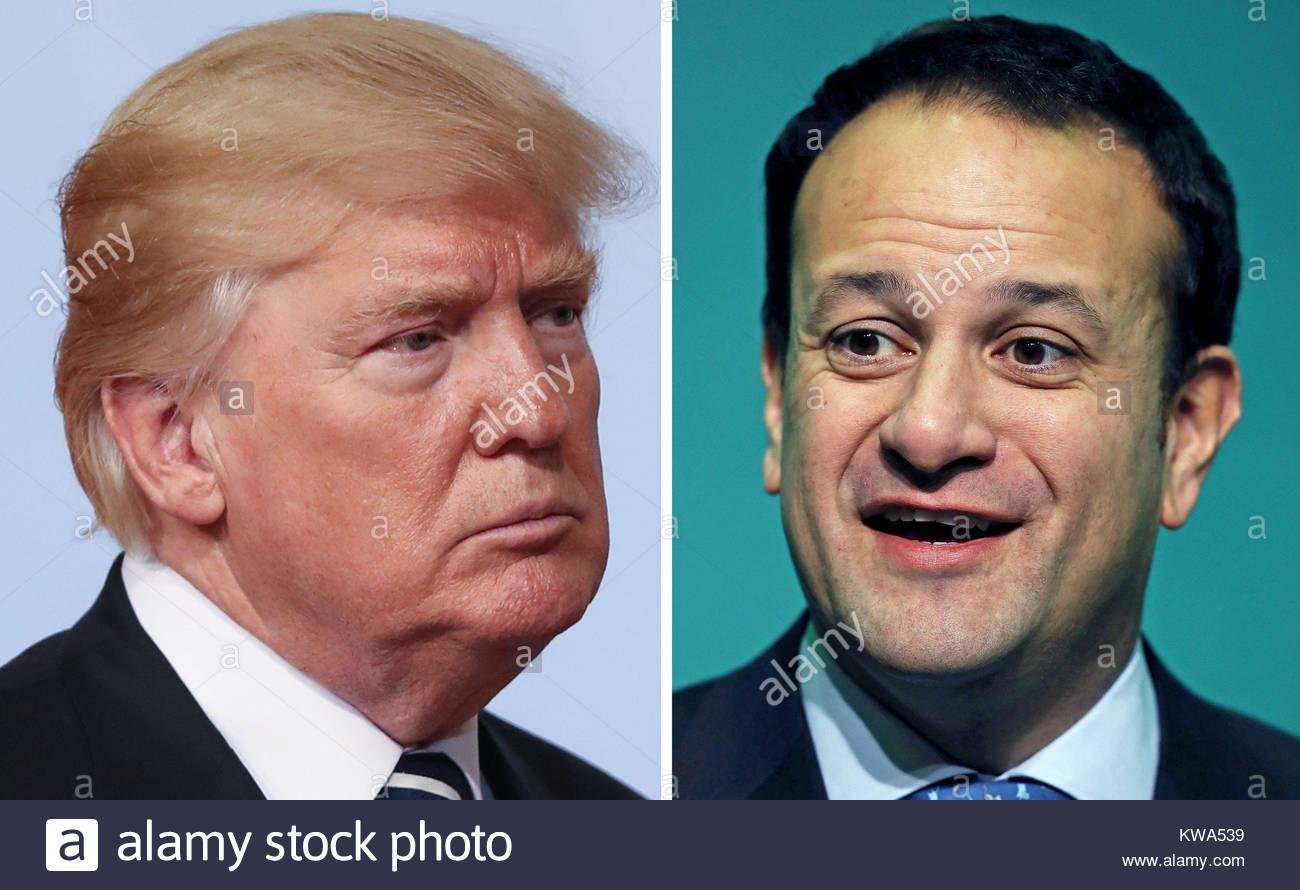 EMBARGOED TO 0001 TUESDAY JANUARY 2 Undated file photos of US President Donald Trump and Irish Taoiseach Leo Varadkar. - Stock Image