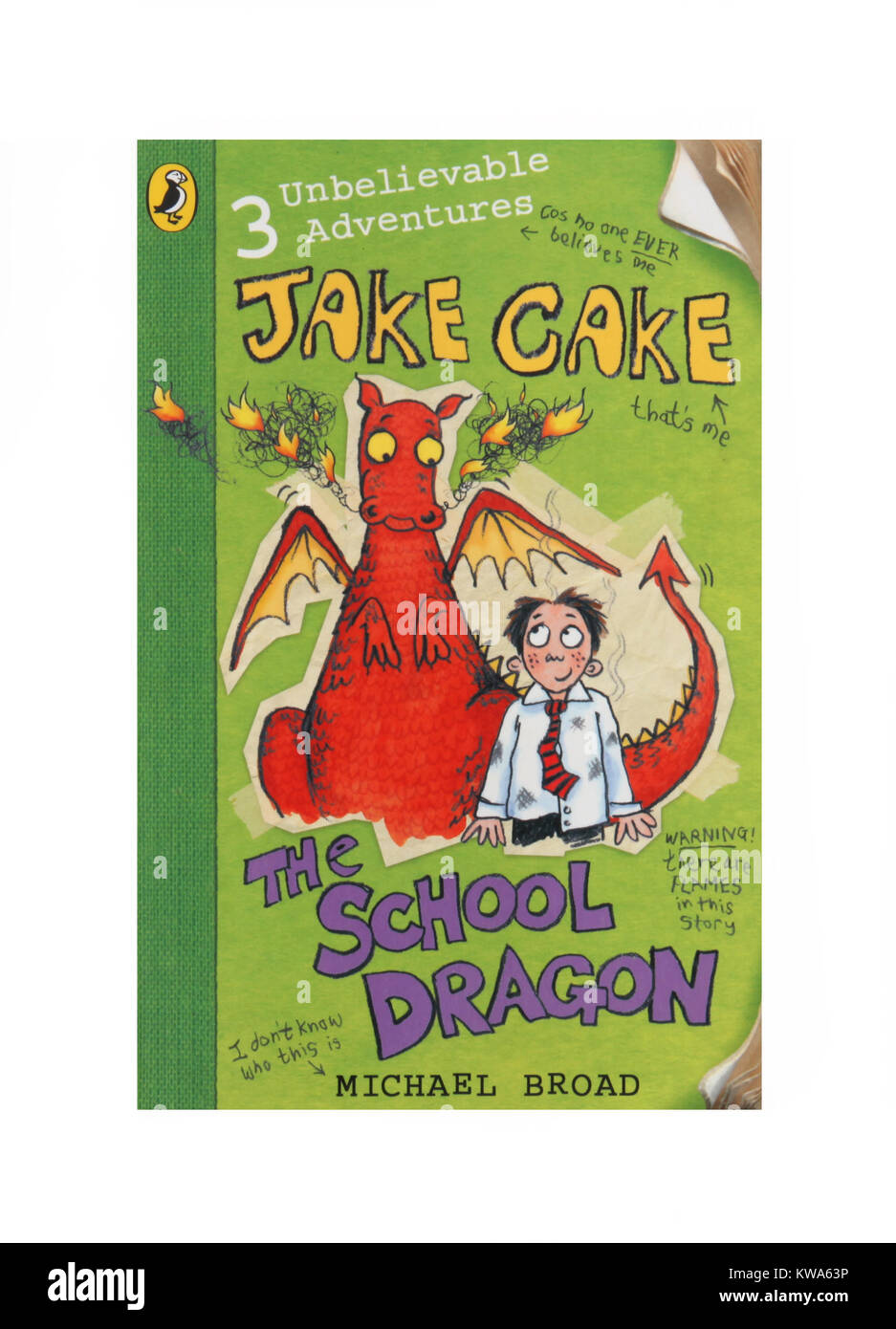 The book, Jake Cake The School Dragon by Michael Broad. - Stock Image