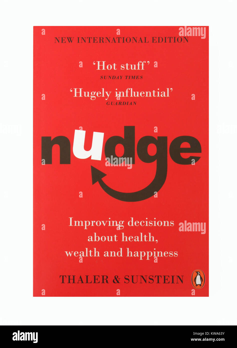 The book, Nudge - Improving decisions about health, wealth and happiness by Thaler and Sunstien - Stock Image