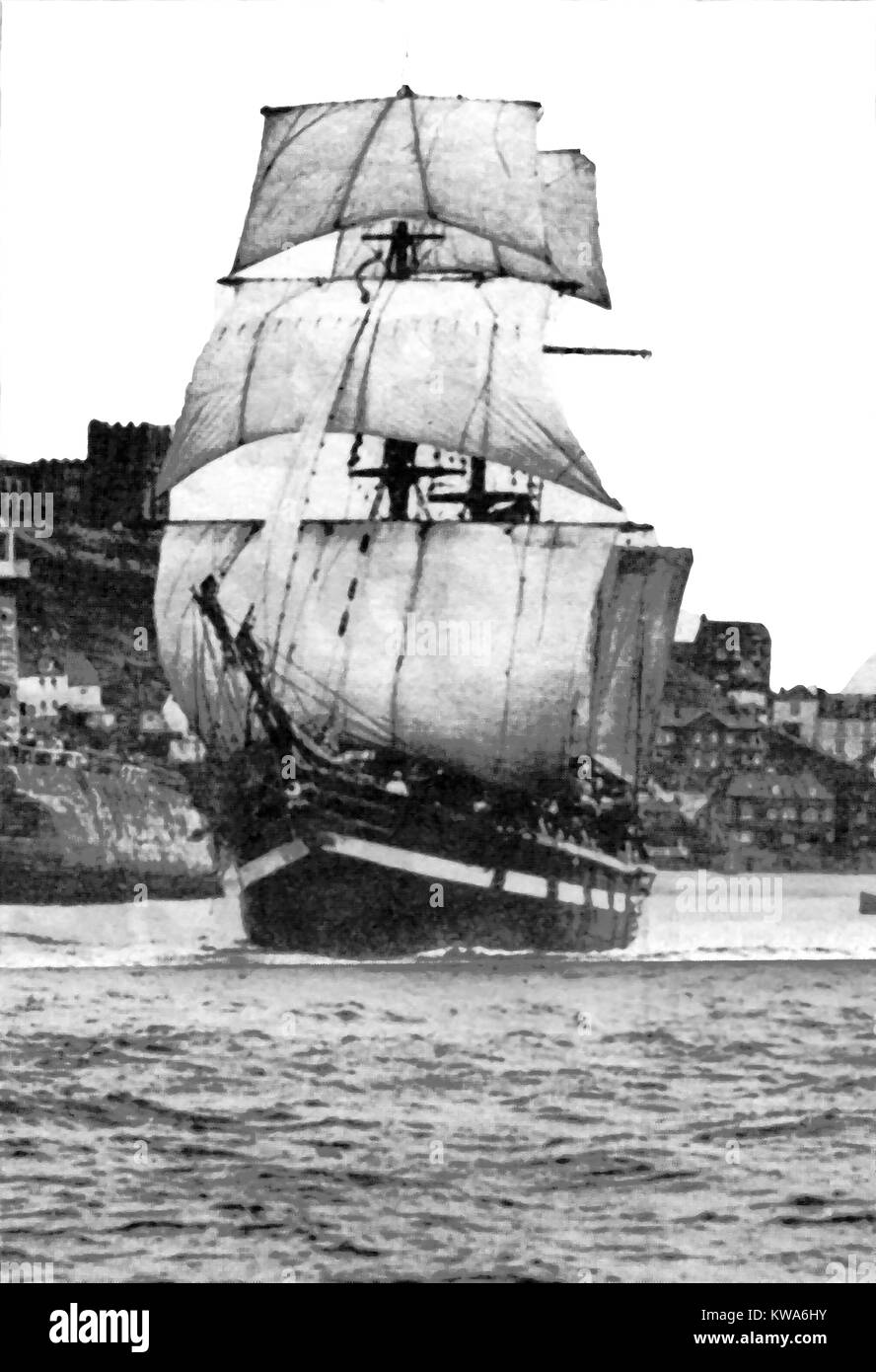 MARQUES  -  SAILING SHIP  ( A Barque that was originally a 1917 Spanish built Polacca-rigged  Brig)  - LEAVING WHITBY, - Stock Image