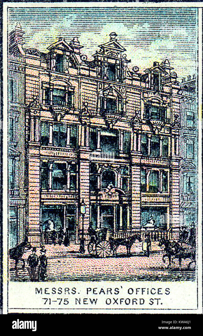 Pears Soap Offices  (HQ)  71-75 New Oxford Street,London, UK in  early times. (Andrew Pears inventor of world's - Stock Image