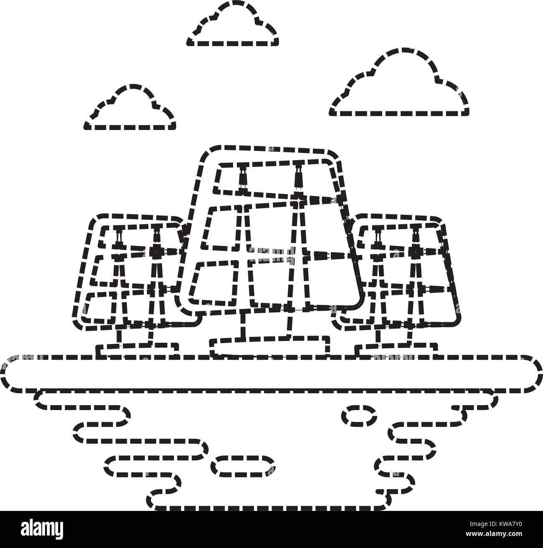 Solar panels on ground cartoon - Stock Image