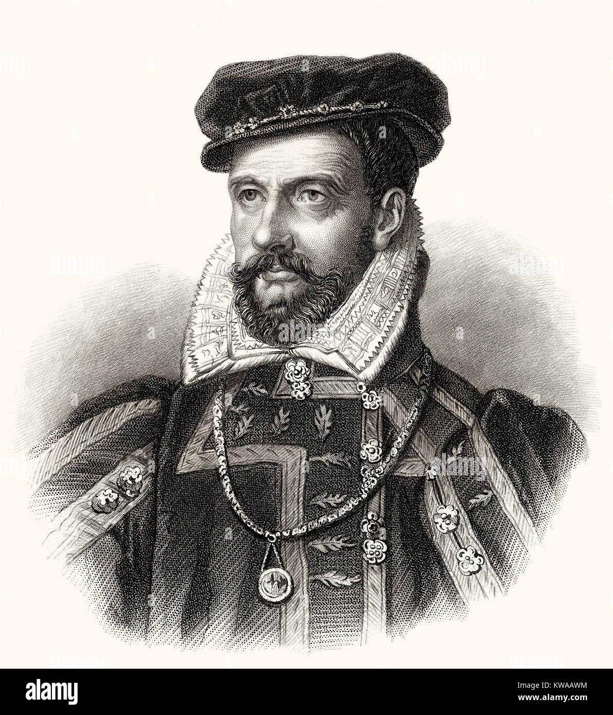 Gaspard II de Coligny, Comte de Coligny, 1519 - 1572, a French Huguenot leader - Stock Image