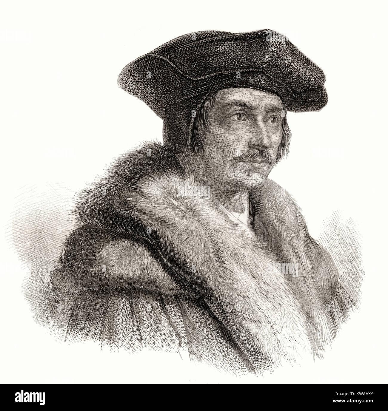 Sir Thomas More or Thomas Morus, 1478 - 1535, an English statesman, humanist writer - Stock Image