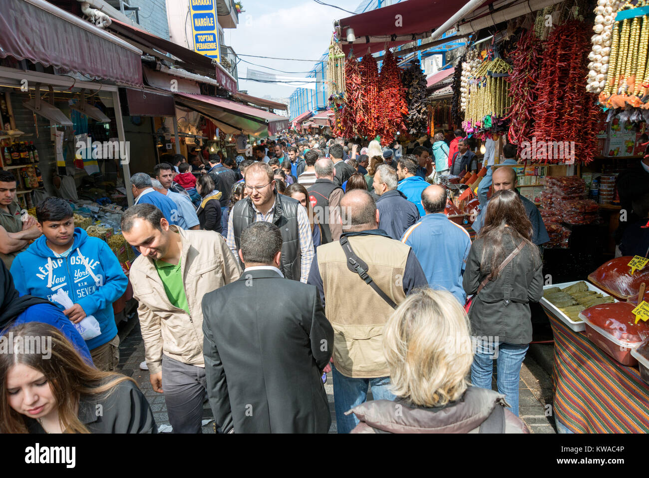 APRIL 27,2014 ISTANBUL TURKEY.Tahtakale is the one of the big public bazaars in Istanbul province. - Stock Image