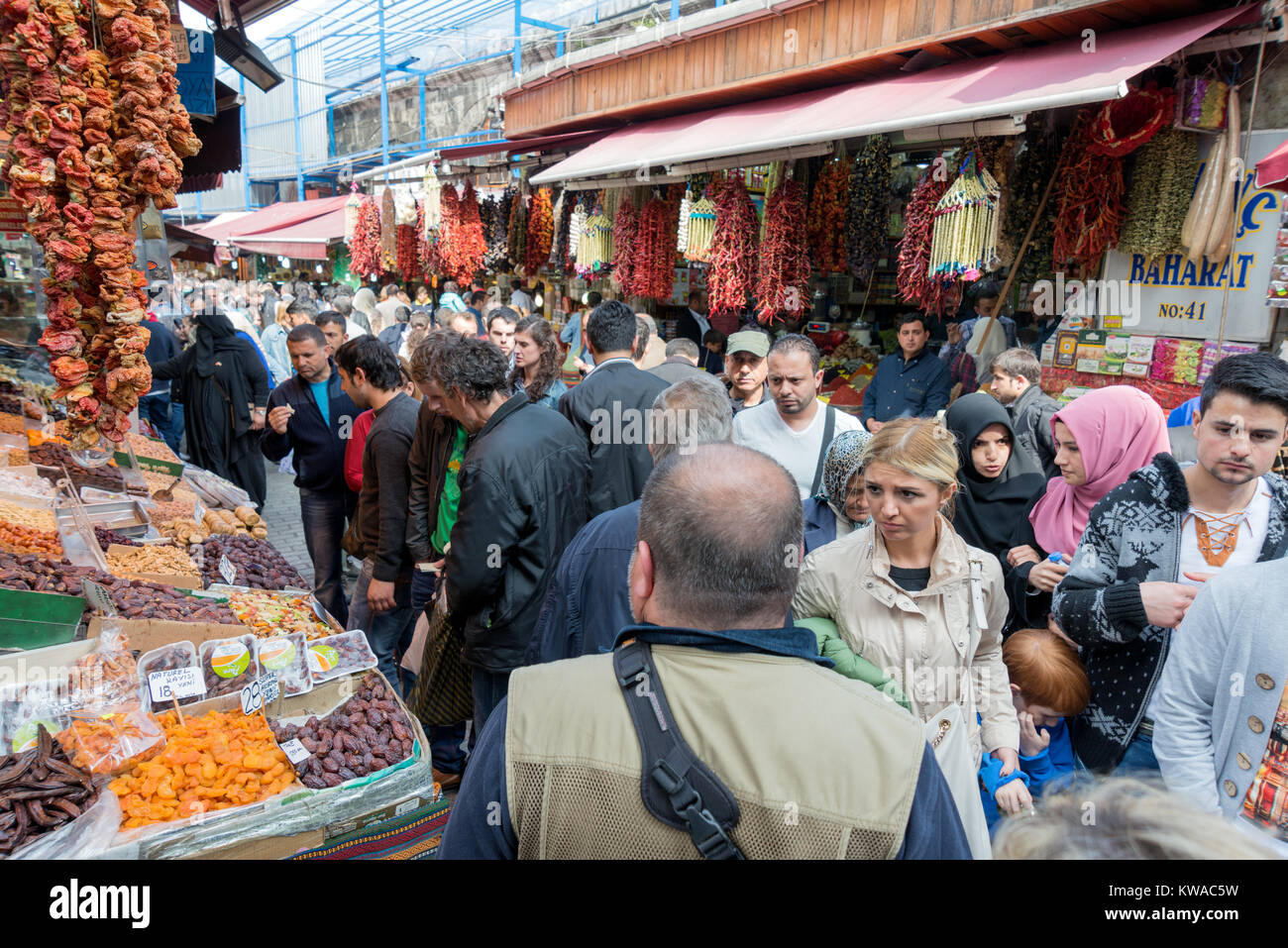 APRIL 27,2014 ISTANBUL TURKEY.Tahtakale is the one of the big public bazaars in Istanbul province. - Stock Photo