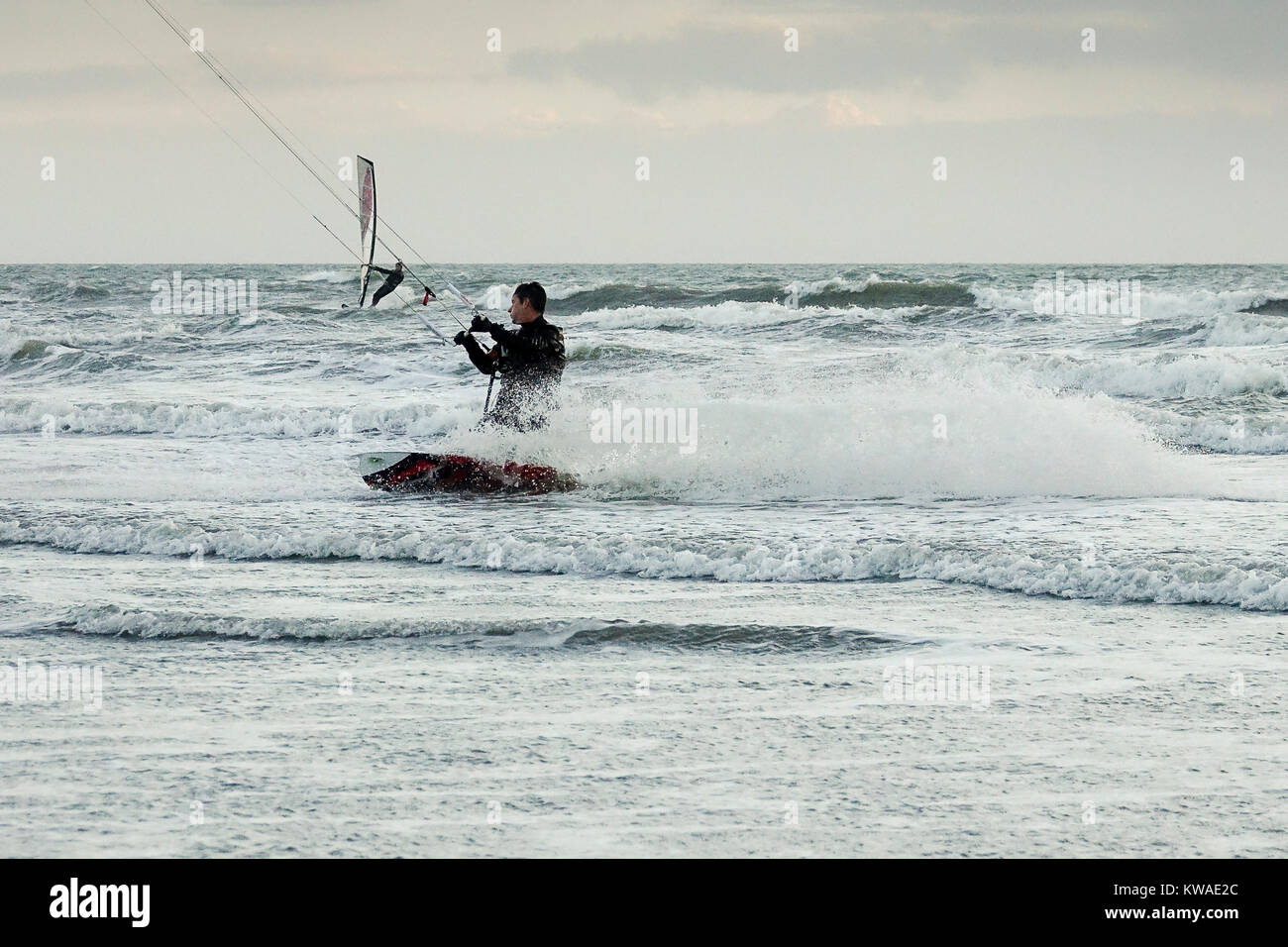 Bracklesham Bay, East Wittering. 01st January 2018. Strong winds along the south coast on the first day of 2018. - Stock Image