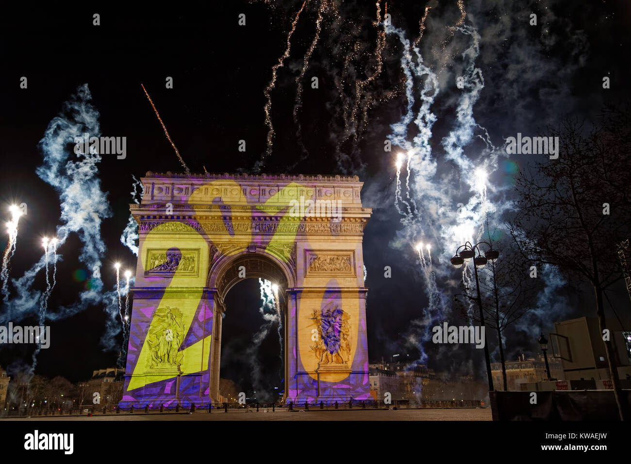 Paris, France. 1st Jan, 2018. Fireworks at midnight was shot from the top of the Arc de Triomphe on January 1, 2018 - Stock Image