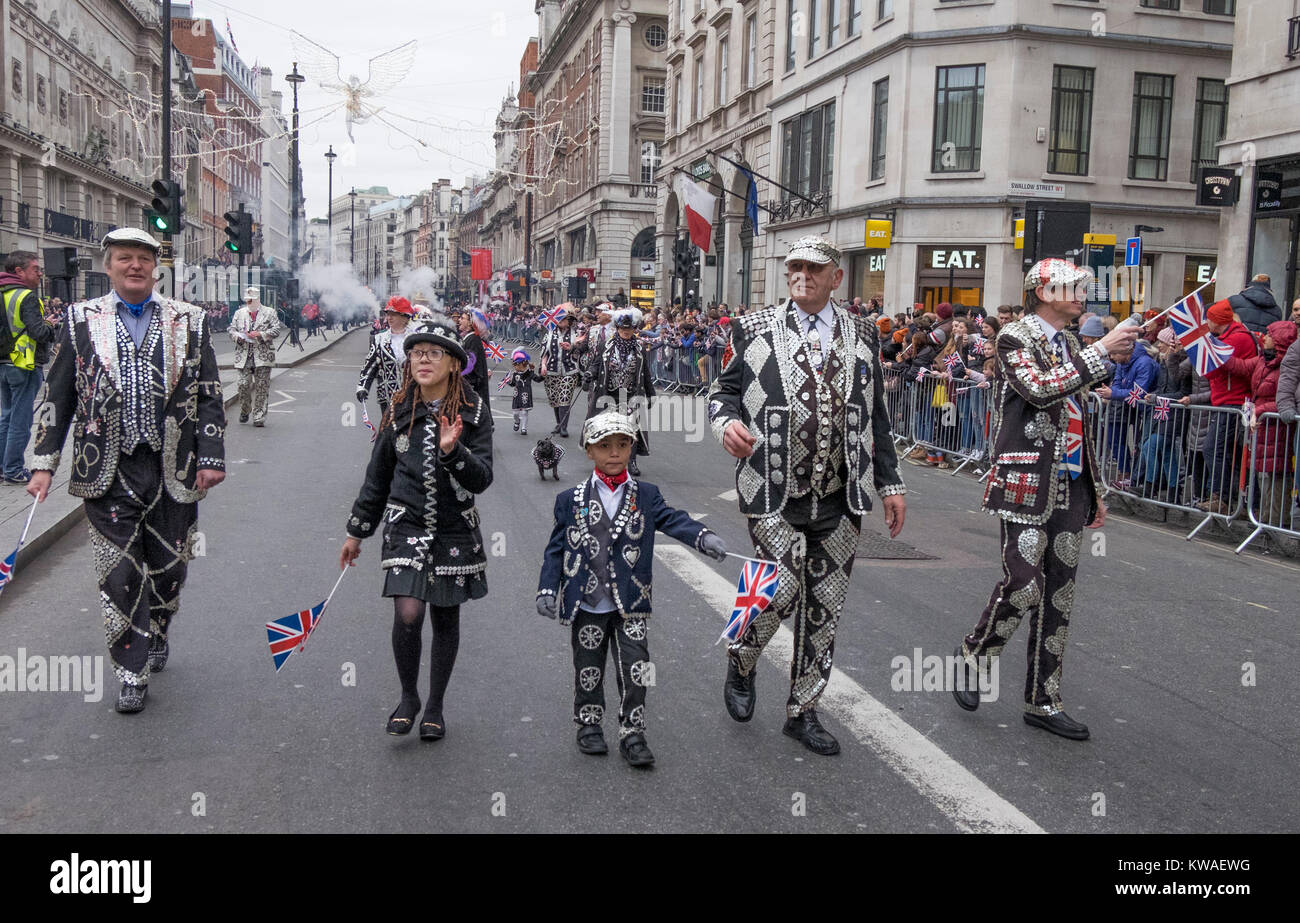 Central London, UK. 1st Jan, 2018. London's spectacular New Year's Day Parade starts at 12 noon in Piccadilly, - Stock Image