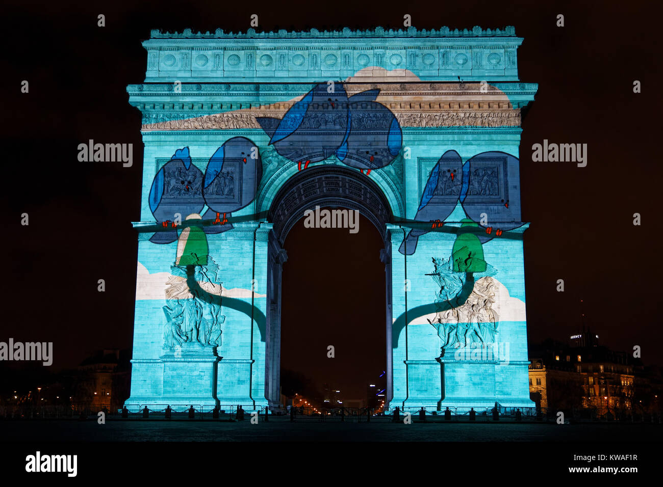 Paris, France. 31st Dec, 2017. The video show projected on the Arc de Triomphe for the new year on December 31, - Stock Image
