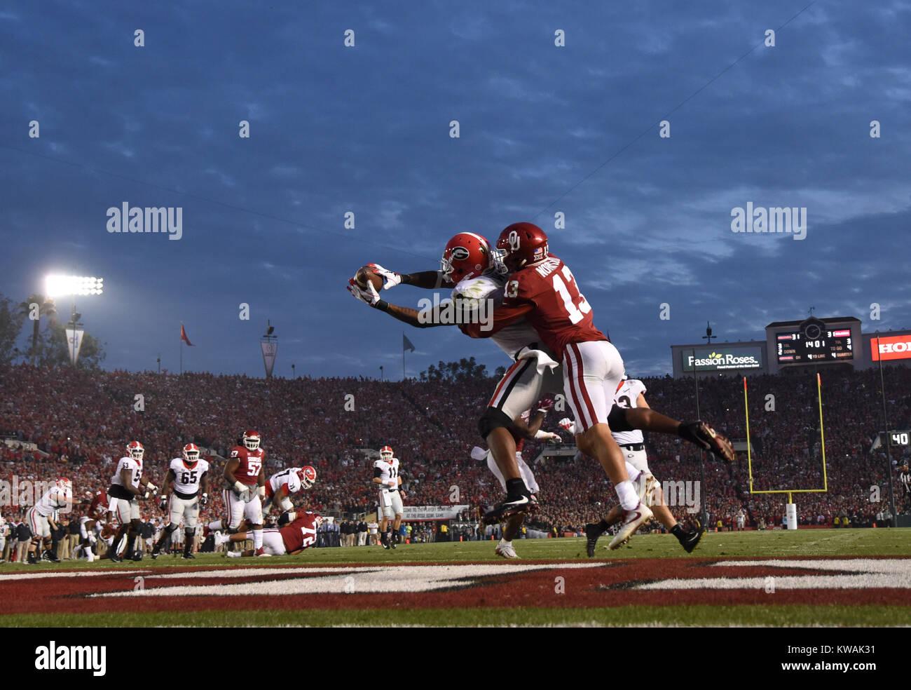Pasadena, California, USA. 01st Jan, 2018. Georgia Bulldogs wide receiver Javon Wims #6 catches a touchdown during Stock Photo