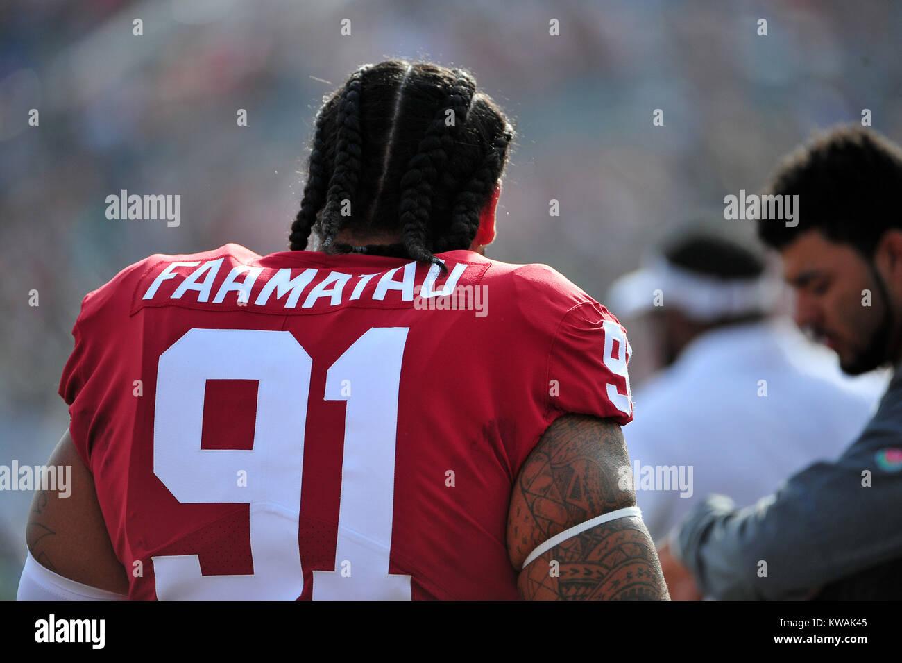 Pasadena, California, USA. 01st Jan, 2018. Oklahoma Sooners defensive tackle Dillon Faamatau #91 during the 2018 Stock Photo