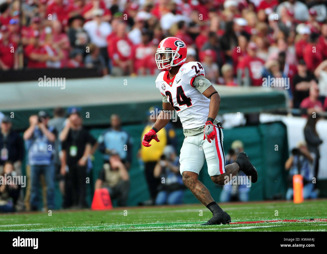 Pasadena, California, USA. 01st Jan, 2018. Georgia Bulldogs safety Dominick Sanders #24 during the 2018 Rose Bowl Stock Photo