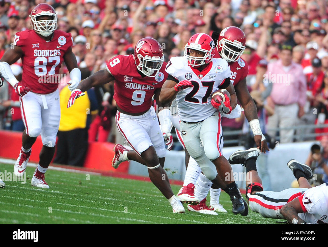 Pasadena, California, USA. 01st Jan, 2018. Georgia Bulldogs running back Nick Chubb #27 during the 2018 Rose Bowl Stock Photo