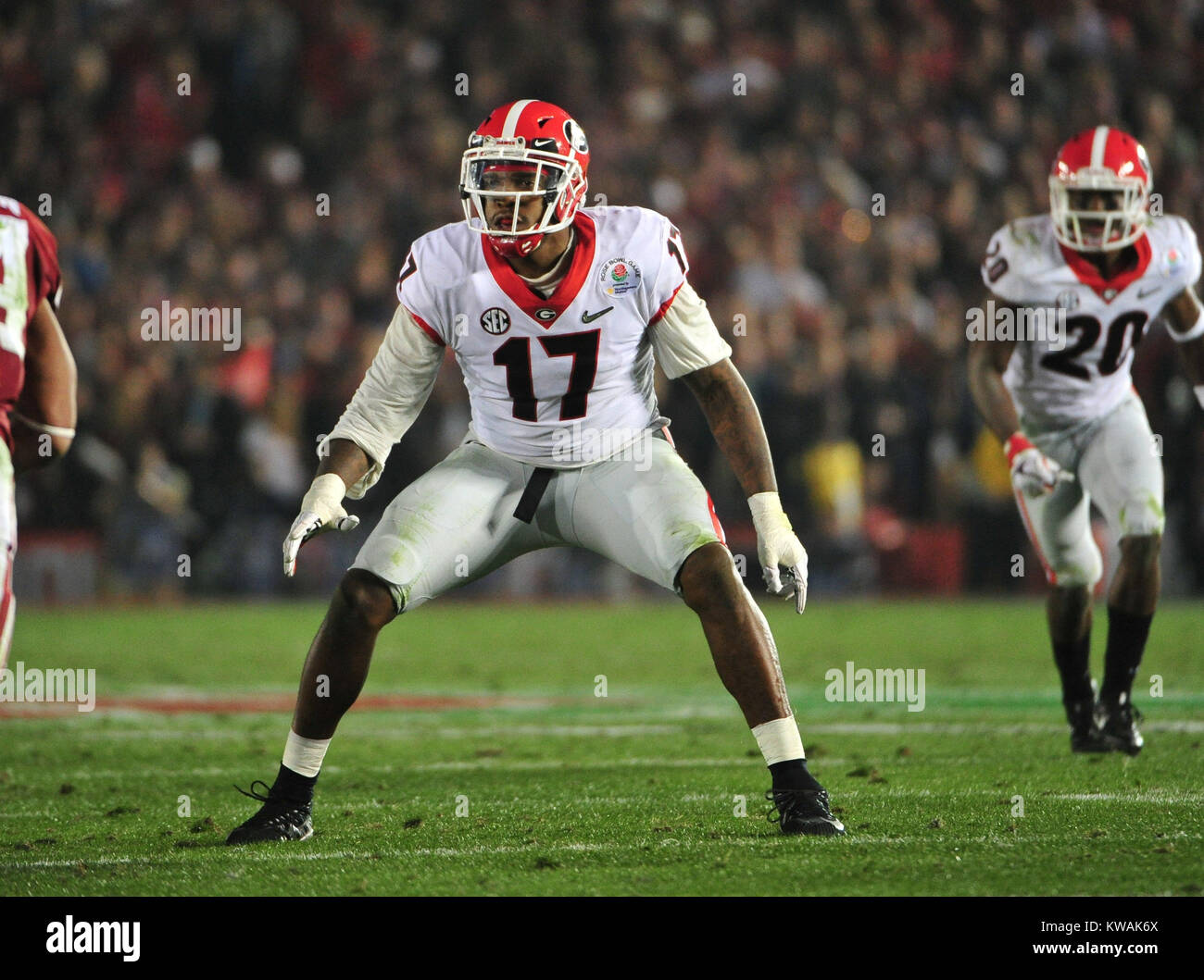 Pasadena, California, USA. 01st Jan, 2018. Georgia Bulldogs linebacker Davin Bellamy during the 2018 Rose Bowl semi Stock Photo