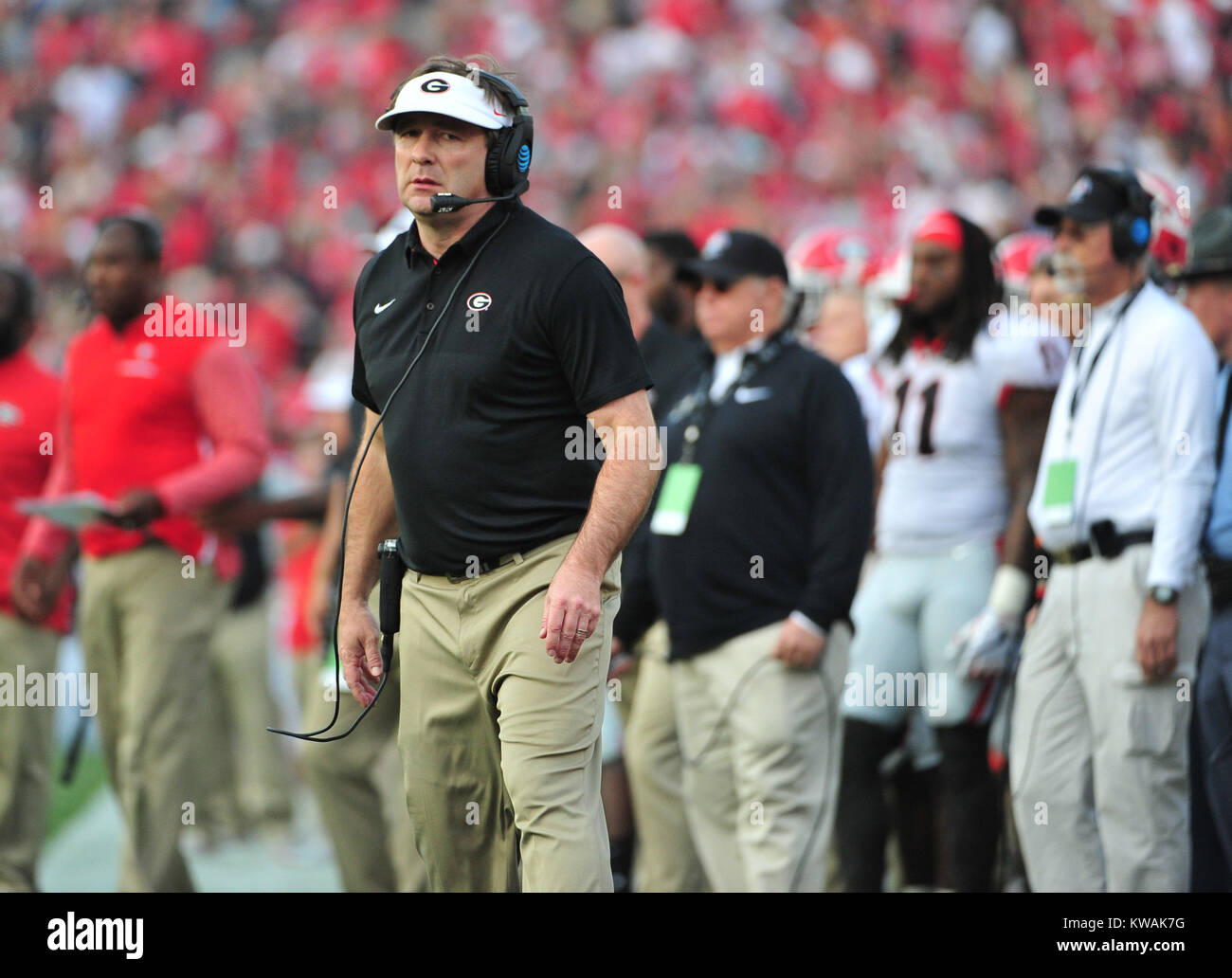Pasadena, California, USA. 01st Jan, 2018. Georgia Bulldogs head coach Kirby Smart (center) during the 2018 Rose Stock Photo