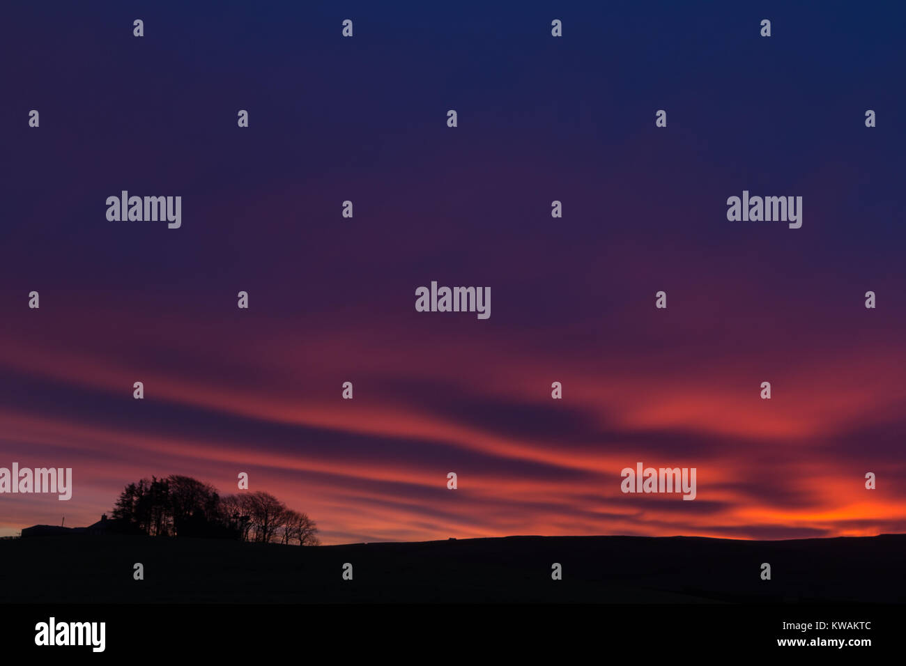 Coanwood, Northumberland, UK. 2nd Jan, 2018. Red Sky in the morning ahead of the next named storm of the winter, - Stock Image