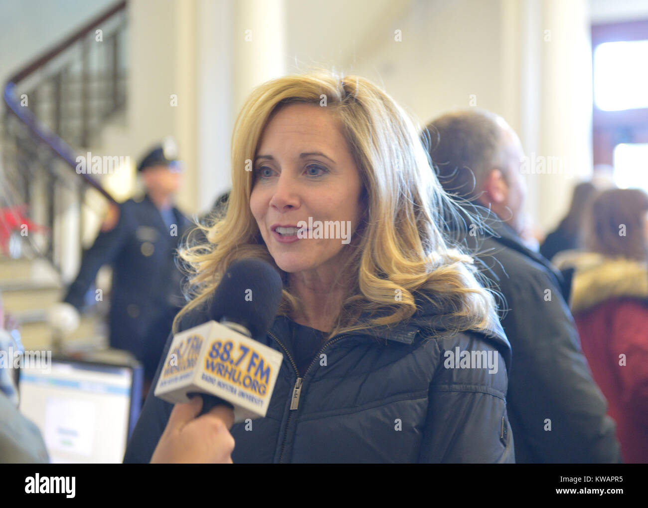 Mineola, New York, USA. January 1, 2018. Town of Hempstead Supervisor LAURA GILLEN, a Democrat, is interviewed by - Stock Image