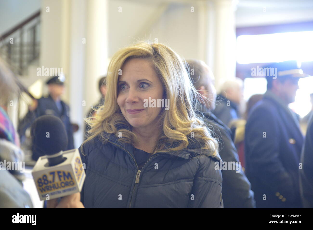 Mineola, New York, USA. January 1, 2018. Town of Hempstead Supervisor LAURA GILLEN, a Democrat, is interviewed by Stock Photo