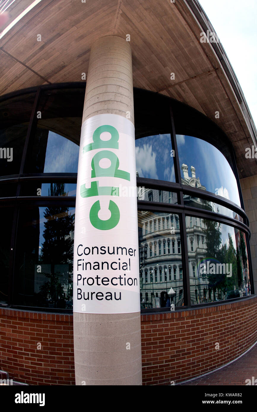 The Consumer Financial Protection Bureau in Washington, D.C.  The agency which was designed to protect consumers - Stock Image