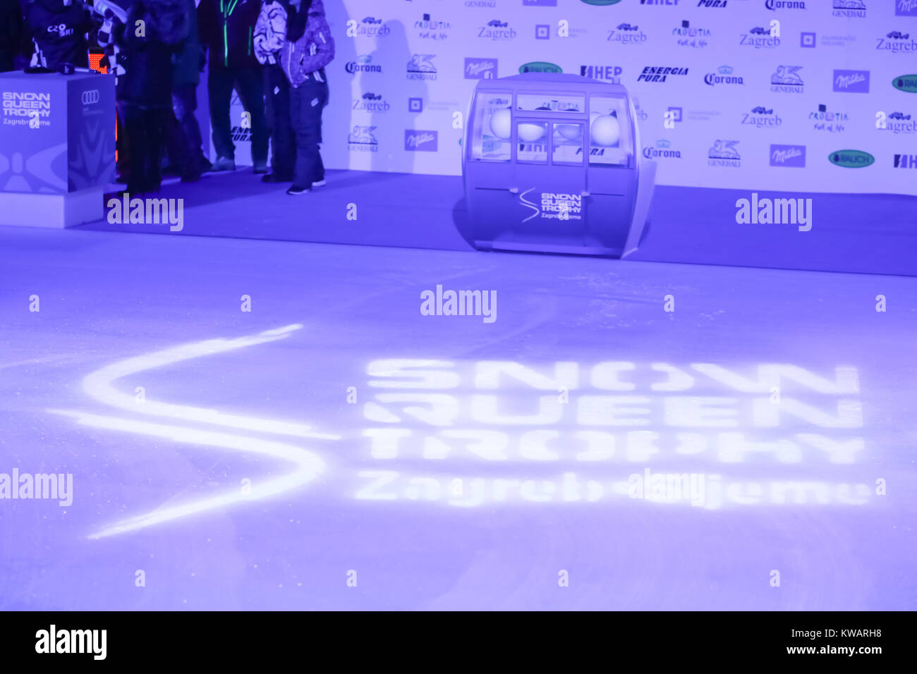 Zagreb, Croatia. 02nd Jan, 2018. Logo of Snow Queen Trophy at the ice floor of Ice Park on King Tomislav Square - Stock Image