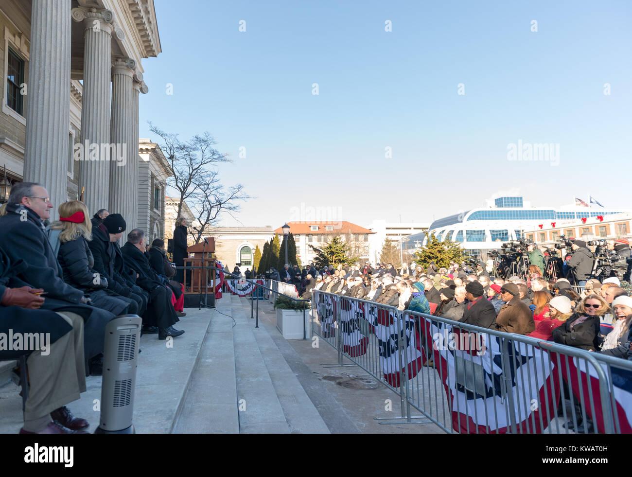 Mineola, New York, USA. 1st Jan, 2018. At podium, Nassau County Executive LAURA CURRAN, who has just be sworn in - Stock Image