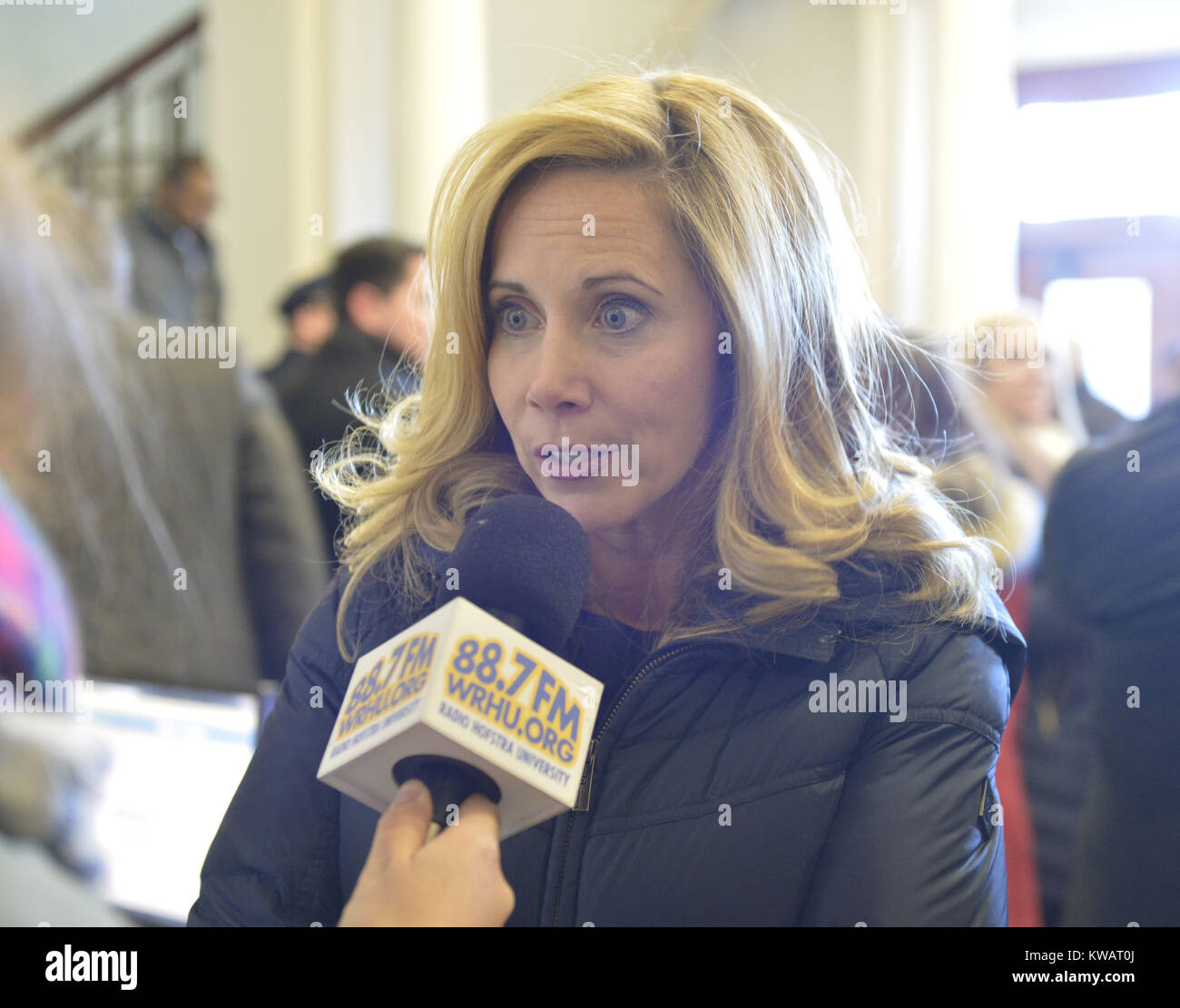 Mineola, New York, USA. 1st Jan, 2018. Town of Hempstead Supervisor LAURA GILLEN, a Democrat, is interviewed by - Stock Image