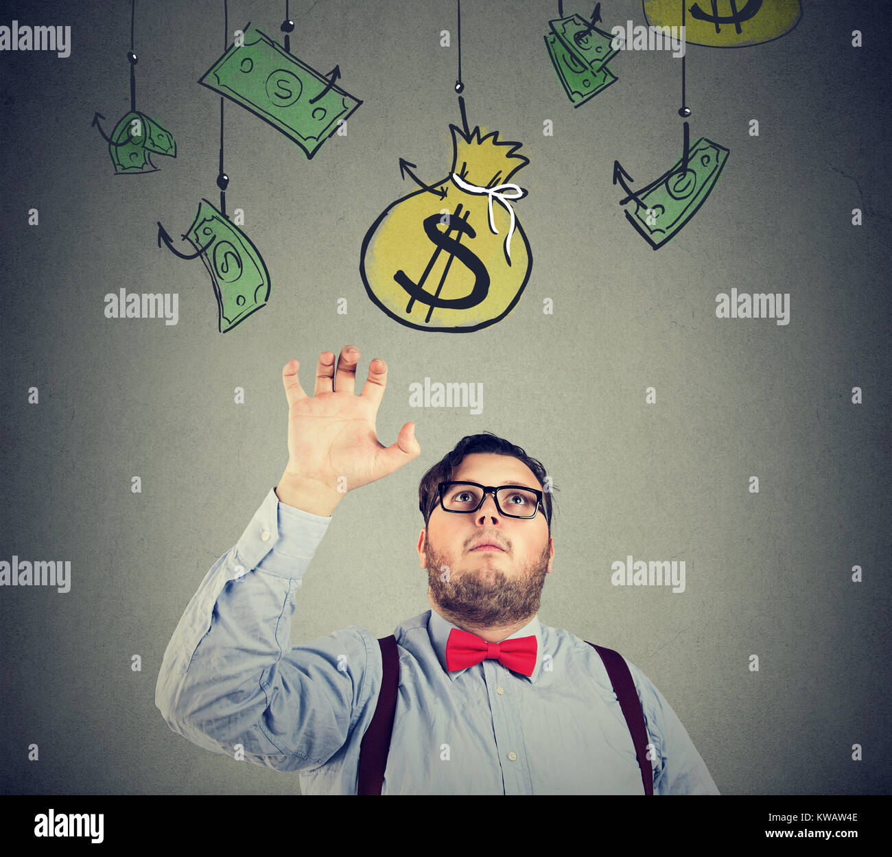 Chunky man in formal clothing grabbing sack of money conducting business. - Stock Image