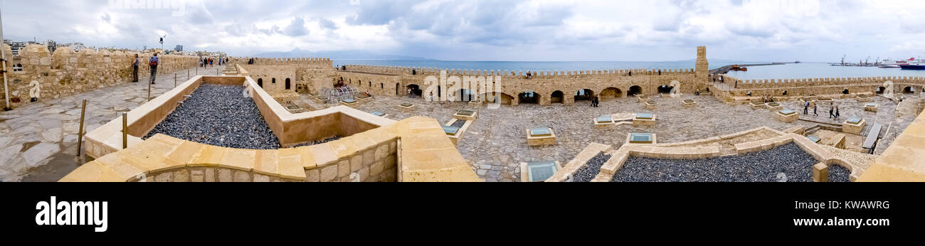 Views of the Venetian Fortress, the harbor fort, Venetian Port, Heraklion, Iraklion, Crete, Greece, Europe, Heraklion, - Stock Image