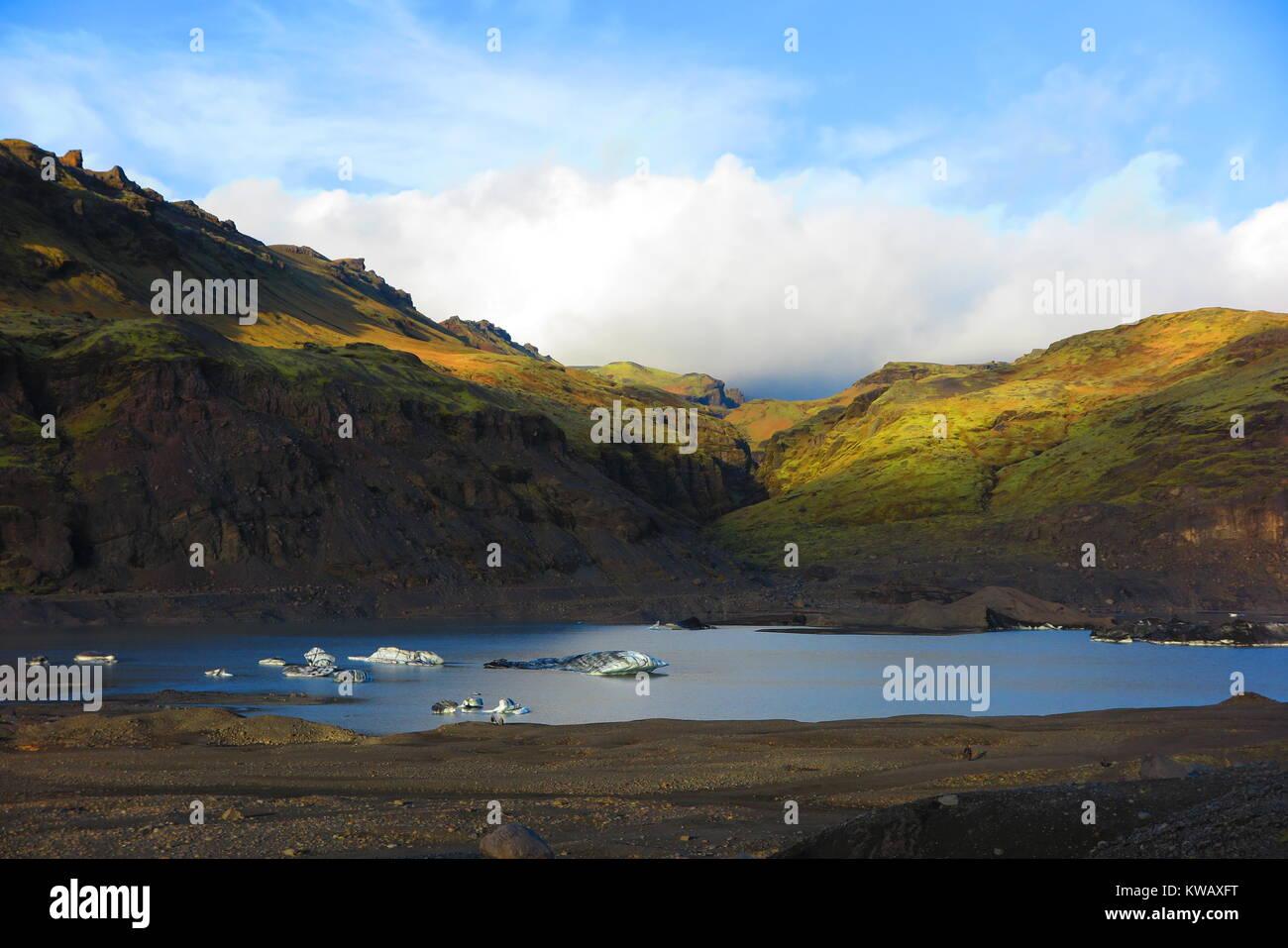 Lake near Solheimajokull glacier in Iceland - Stock Image