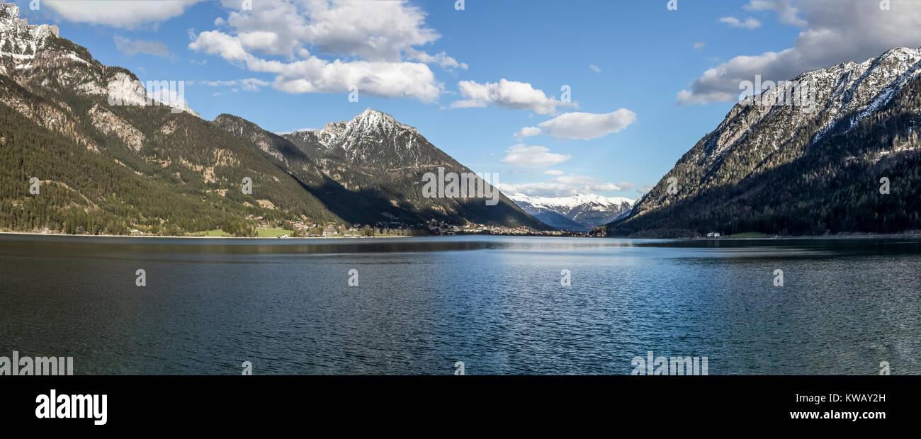Panaorama of Mayrhofen lake in Austria - Stock Image