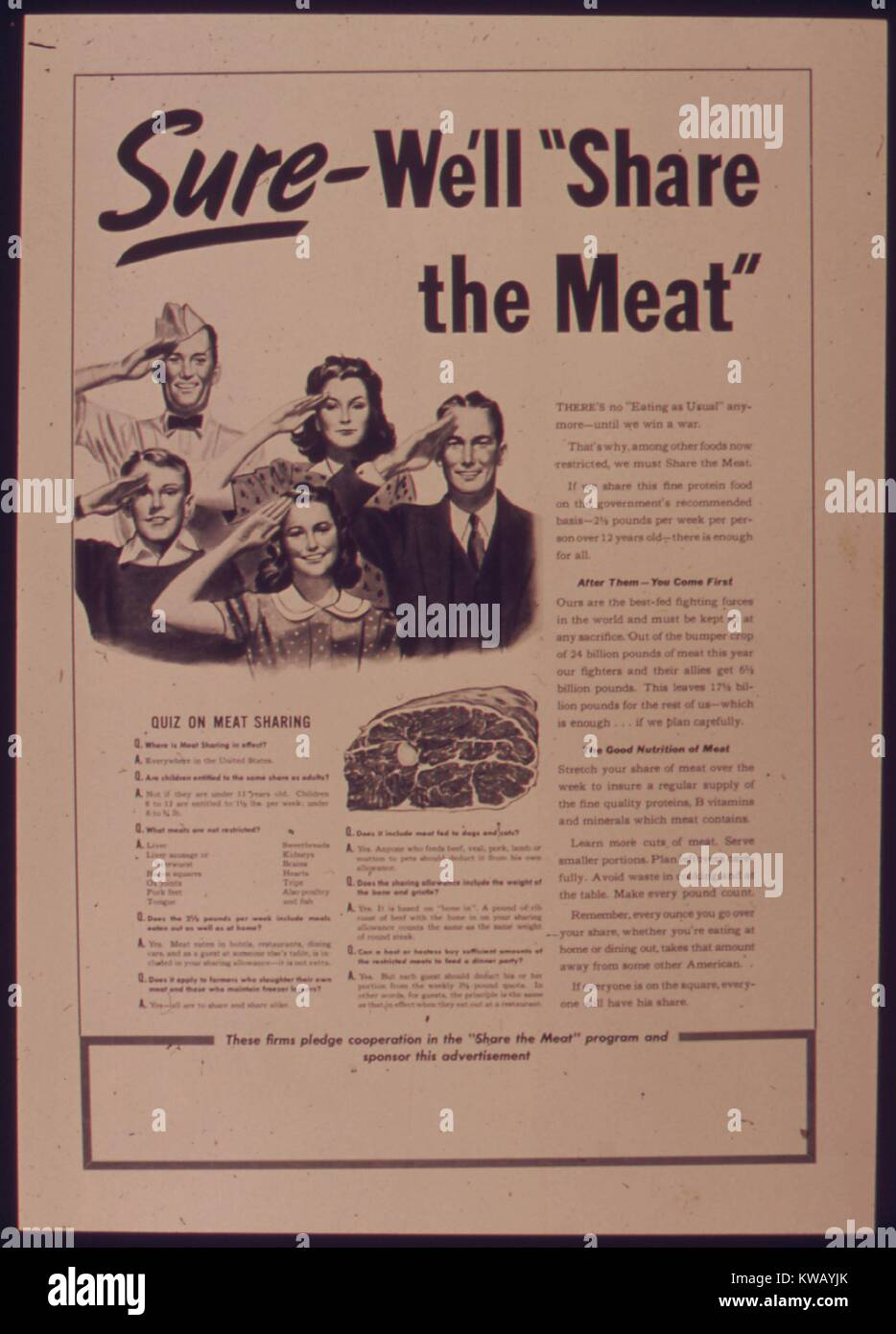 Government issued wartime educational poster encouraging