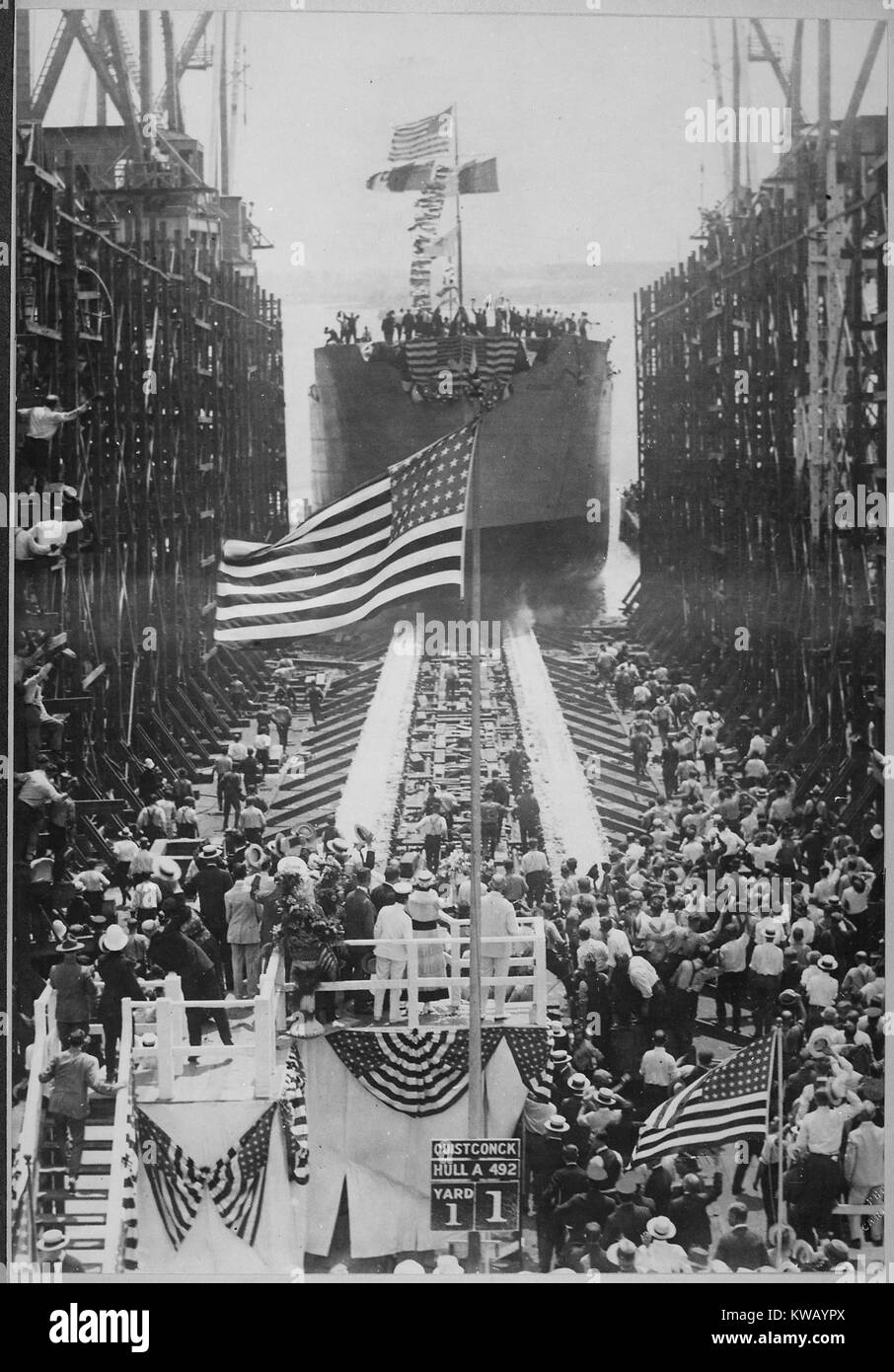 The elaborate launch of the US naval vessel, Quistconck, at the Hog Island shipyards, with President Woodrow Wilson - Stock Image