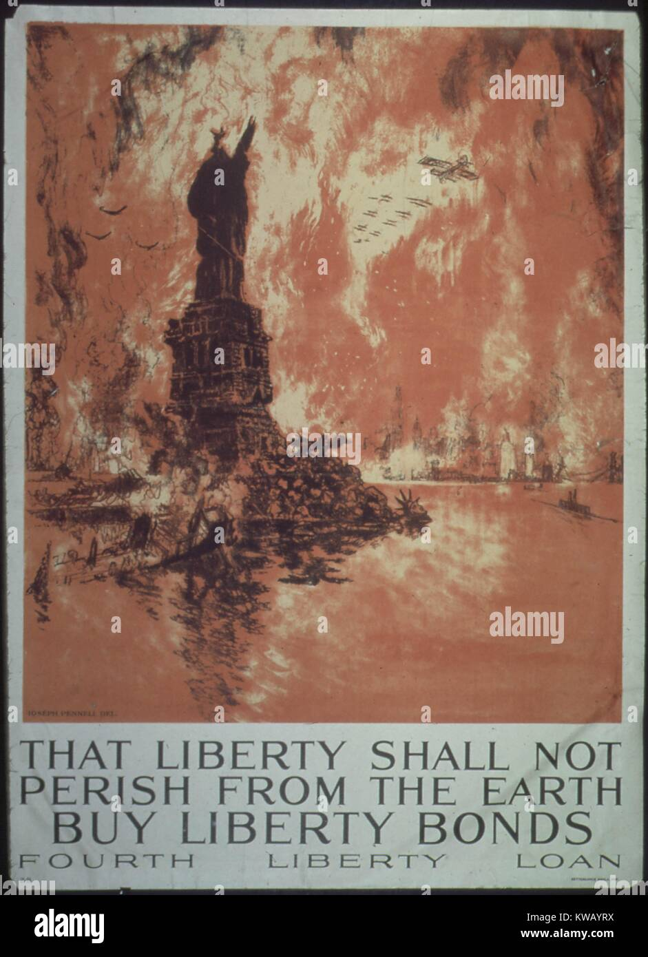 Advertisement for Fourth Liberty Loan: 'that liberty shall not perish from the earth, buy liberty bonds.', - Stock Image