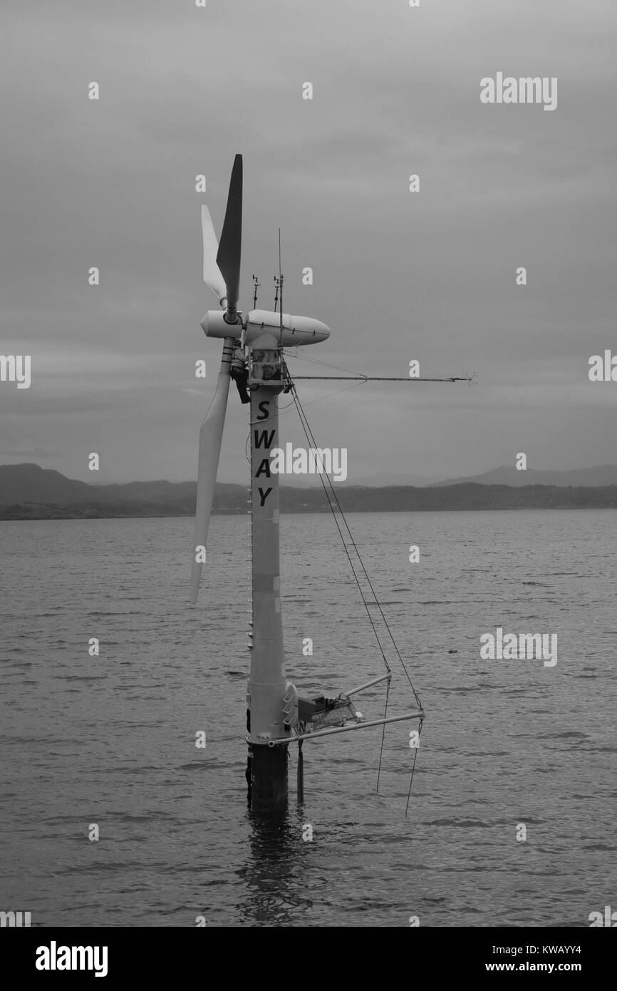 Offshore floating wind turbine prototype in a sea under an overcast sky, Bergen, Norway, 2012. Courtesy US Department - Stock Image