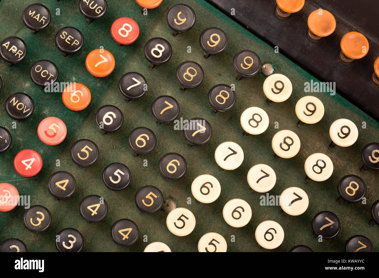 Keyboard of an early 20th century Burroughs adding machine ca: 1911-1913 - Stock Image