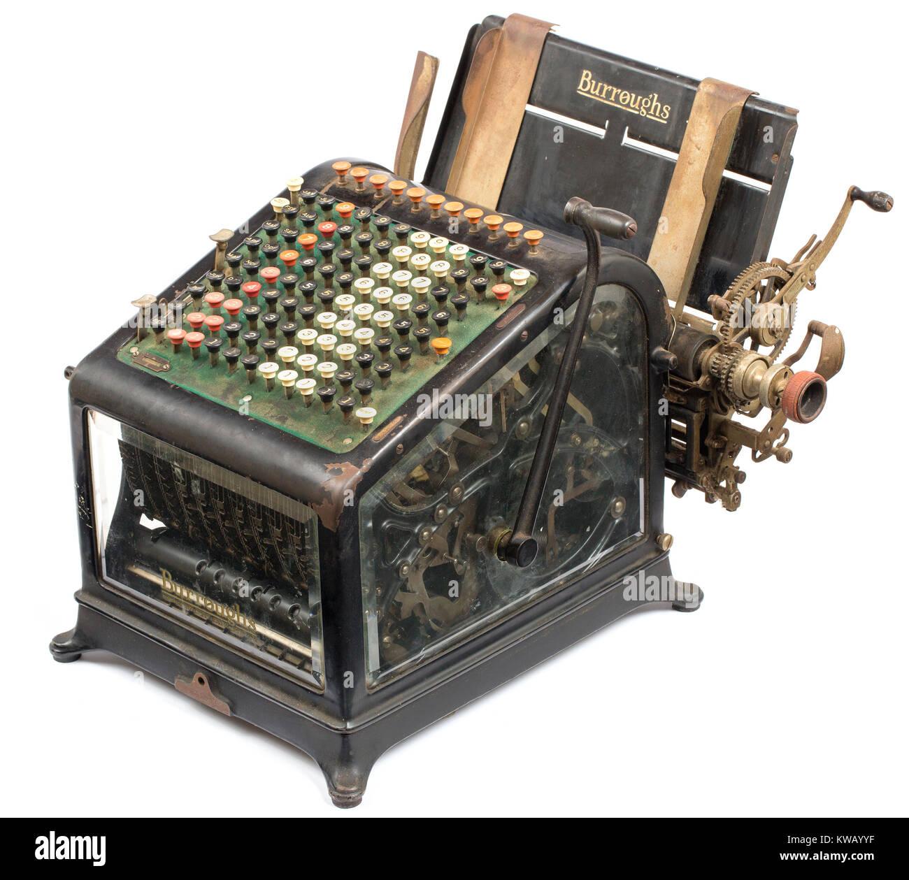 Early 20th century Burroughs adding machine ca: 1911-1913 - Stock Image